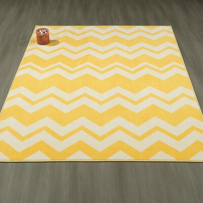 Claren Chevron Waves Yellow Area Rug Rug Size: 5 x 6