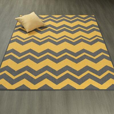 Claren Chevron Waves Gray/Yellow Area Rug Rug Size: 5 x 6