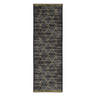 Vathylakas Diamond Trellis Black/Yellow Area Rugs Rug Size: 82 x 910