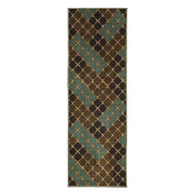 Rocio Squares Aqua/Brown Area Rug Rug Size: 33 x 5