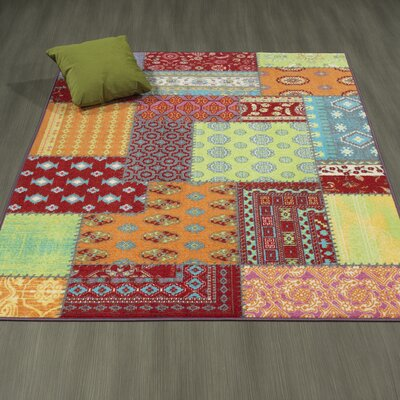 Regan Non-Slip Modern Red/Orange/Green Area Rug