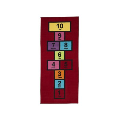 Childrens Garden Educational Hopscotch Area Rug Color: Red