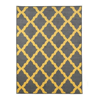 Vathylakas Moroccan Trellis Gray/Yellow Area Rug Rug Size: 5 x 6