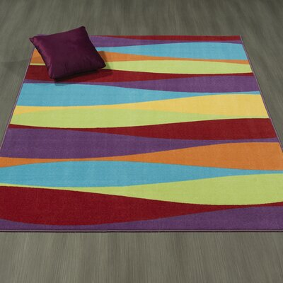 Regan Non-Slip Modern Purple/Yellow/Red Area Rug