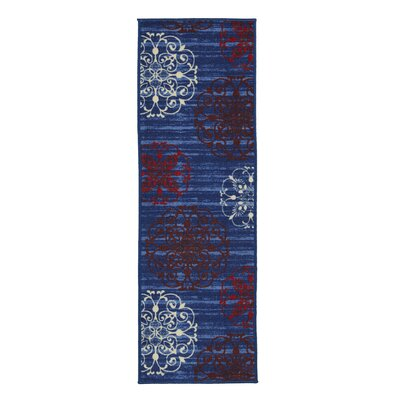 Tailynn Modern Floral Blue/Red Area Rug Rug Size: 5' x 6'