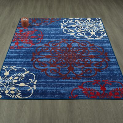 Tailynn Modern Floral Blue/Red Area Rug Rug Size: 5 x 6