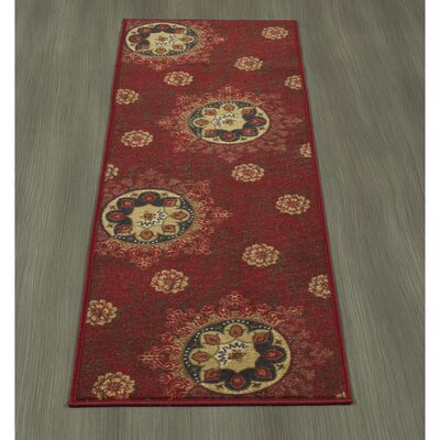 Rocio Floral Red Area Rug Rug Size: Runner 18 x 411