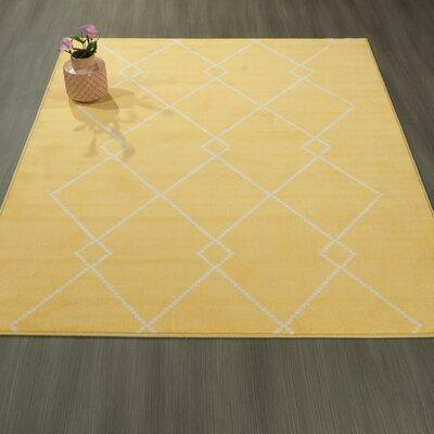 Heikkinen Diamond Trellis Yellow Area Rug Rug Size: 3'3