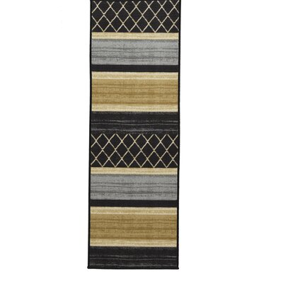 Tailynn MultiLayered Gray/Cream/Black Area Rug Rug Size: Runner 1'8