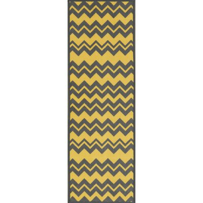 Barry Chevron Waves Gray/Yellow Area Rug Rug Size: Runner 18 x 411