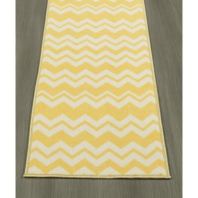 Claren Chevron Waves Yellow Area Rug Rug Size: Runner 18 x 411