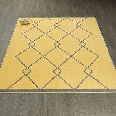 Heikkinen Diamond Trellis Gray/Yellow Area Rug Rug Size: 5 x 6
