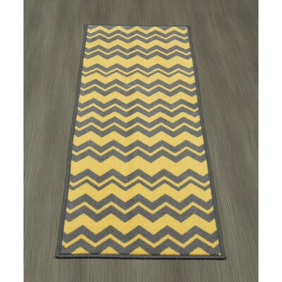 Claren Chevron Waves Gray/Yellow Area Rug Rug Size: Runner 18 x 411