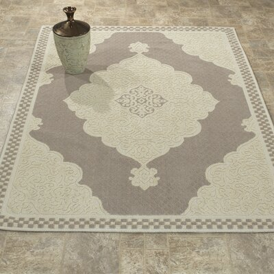 Kamila Nature Cotton Beige/Gray Area Rug Rug Size: 4 8 x 6 7