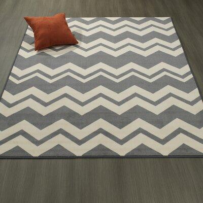Claren Chevron Waves Gray/Cream Area Rug Rug Size: 33 x 5