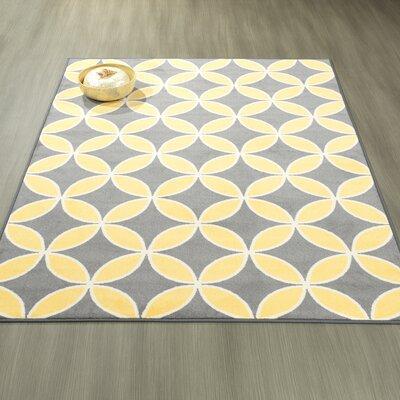 Heikkinen Star Trellis Gray/Yellow Area Rug Rug Size: 5' x 6'