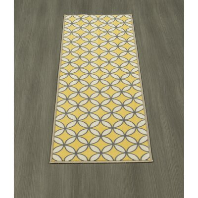 Heikkinen Star Trellis Yellow/Gray Area Rug Rug Size: Runner 1'8