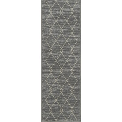 Vathylakas Diamond Gray Area Rug Rug Size: Runner 18 x 411