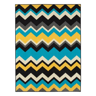 Barry Chevron Waves Blue/Yellow Area Rug Rug Size: 33 x 5
