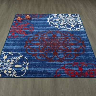 Tailynn Modern Damask Blue Area Rug Rug Size: 33 x 5