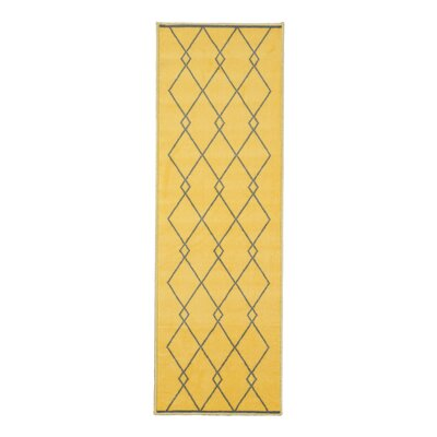 Vathylakas Diamond Trellis Gray/Yellow Area Rug Rug Size: 5 x 6