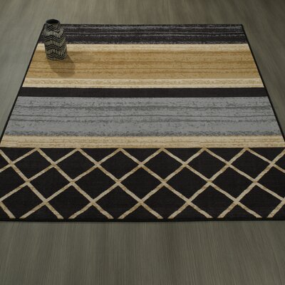 Tailynn MultiLayered Gray/Cream/Black Area Rug Rug Size: 82 x 910