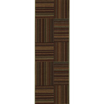 Rocio Striped Brown/Red Area Rug Rug Size: 33 x 5