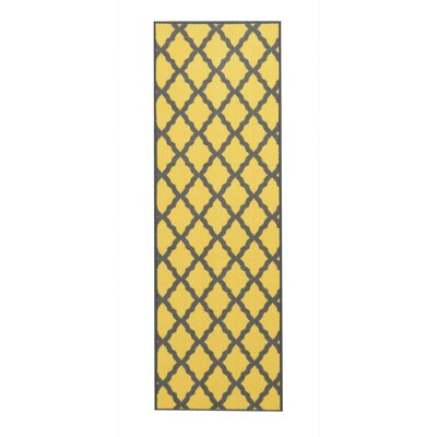 Vathylakas Moroccan Trellis Yellow/Brown Area Rug Rug Size: 33 x 5