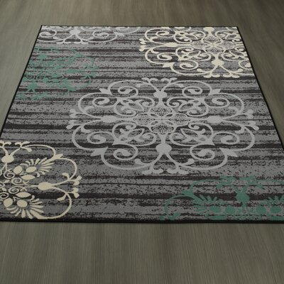 Tailynn Modern Gray/Black Area Rug Rug Size: 82 x 910