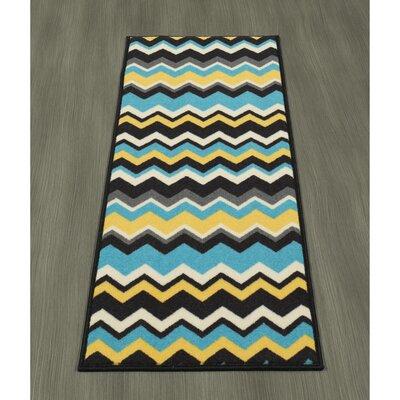 Claren Chevron Waves Blue/Yellow Area Rug Rug Size: Runner 18 x 411