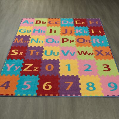 Childrens Garden Alphabet Letters and Numbers Area Rug Size: 0.3 H x 98 W x 118 D