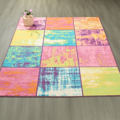 Rocio Boxes Pink/Blue/Yellow Area Rug Rug Size: 82 x 910
