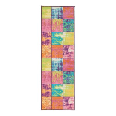 Rocio Boxes Pink/Blue/Yellow Area Rug Rug Size: 5 x 6