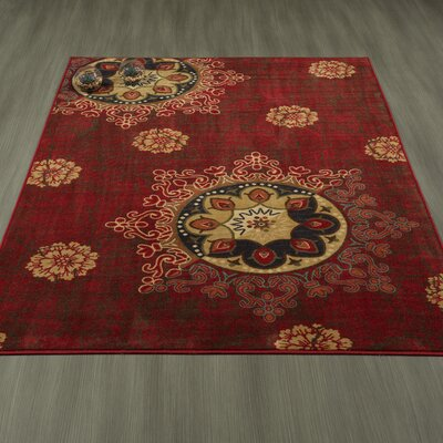 Rocio Damask Red Area Rug Rug Size: 5 x 6