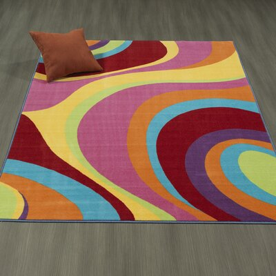 Regan Non-Slip Modern Wavy Pink/Yellow Area Rug