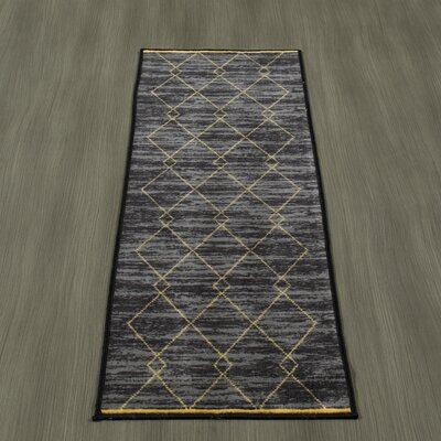 Heikkinen Diamond Trellis Black/Yellow Area Rugs Rug Size: Runner 18 x 411