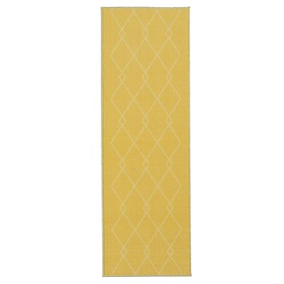 Vathylakas Diamond Trellis Yellow Area Rug Rug Size: Runner 1'8