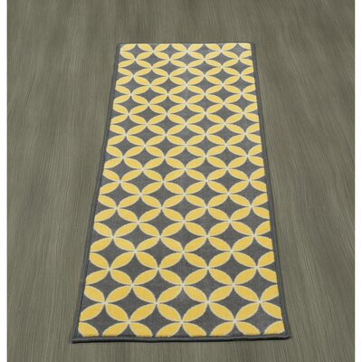 Heikkinen Star Trellis Gray/Yellow Area Rug Rug Size: Runner 18 x 411