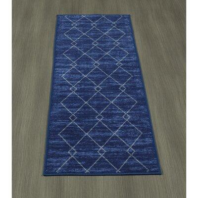 Heikkinen Diamond Trellis Blue Area Rug Rug Size: Runner 18 x 411