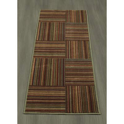 Rocio Striped Brown/Red Area Rug Rug Size: Runner 18 x 411