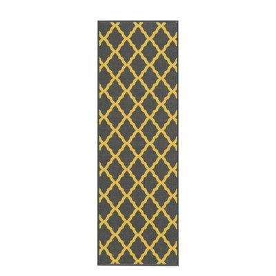 Vathylakas Moroccan Trellis Gray/Yellow Area Rug Rug Size: Runner 18 x 411