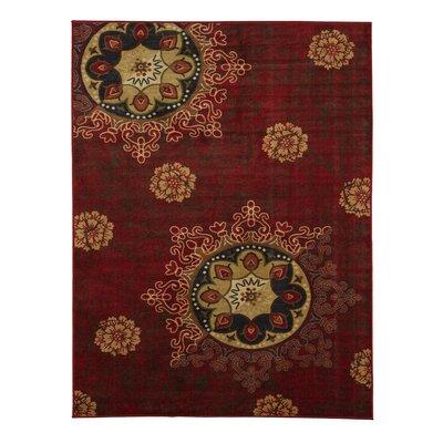 Deidra Floral Red Area Rug Rug Size: 5 x 6