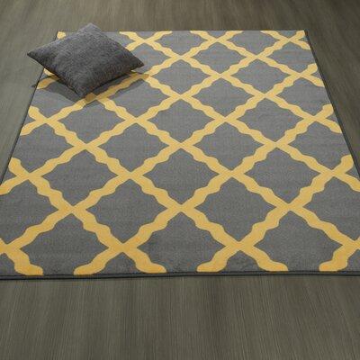 Heikkinen Moroccan Trellis Gray/Yellow Area Rug Rug Size: 3'3