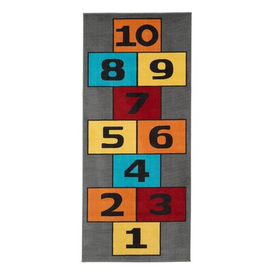 Childrens Garden Educational Hopscotch Children Area Rug Color: Gray