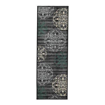 Tailynn Modern Gray/Black Area Rug Rug Size: Runner 1'8
