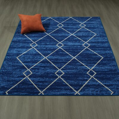 Heikkinen Diamond Trellis Blue Area Rug Rug Size: 5 x 6