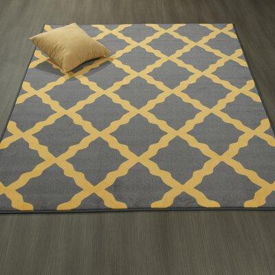 Heikkinen Moroccan Trellis Gray/Yellow Area Rug Rug Size: 5' x 6'