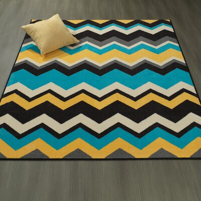 Claren Chevron Waves Blue/Yellow Area Rug Rug Size: 5 x 6