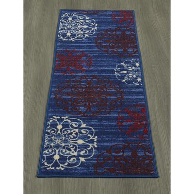 Tailynn Modern Floral Blue/Red Area Rug Rug Size: Runner 18 x 411