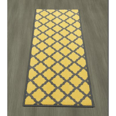 Heikkinen Moroccan Trellis Yellow/Brown Area Rug Rug Size: Runner 18 x 411
